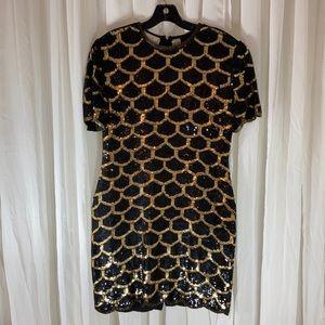 Lawrence Kazar VTG Blck&Gold Sequin Cocktail Dress